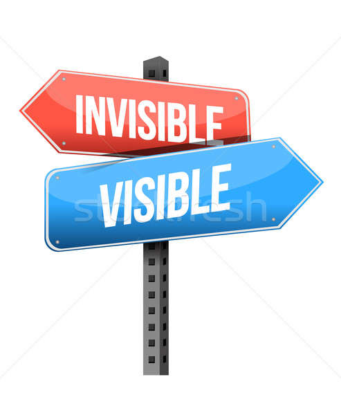 Stock photo: invisible, visible road sign illustration design over a white ba