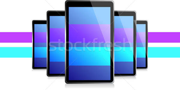 color lines set of electronic Tablets illustration design over a Stock photo © alexmillos