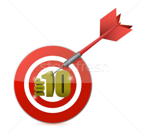gold top ten target and dart illustration design over white Stock photo © alexmillos