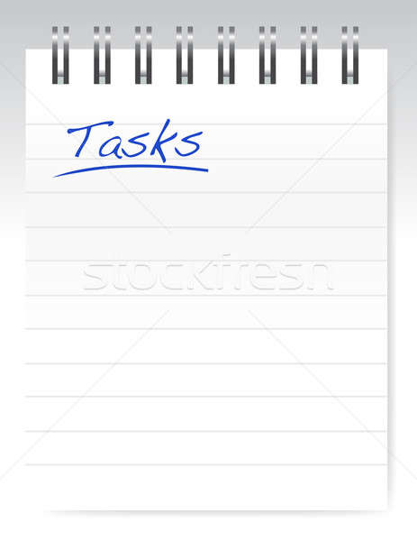 tasks notepad illustration design over a white background Stock photo © alexmillos