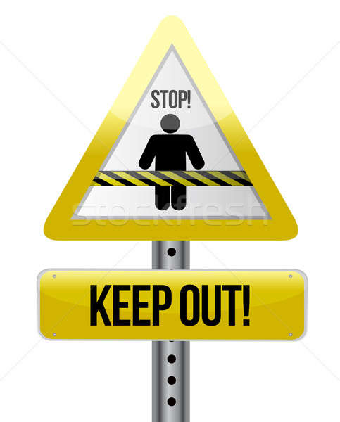 keep out road sign illustration design over white Stock photo © alexmillos