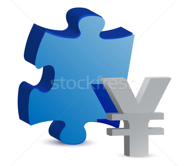 puzzle and yen illustration design over white Stock photo © alexmillos