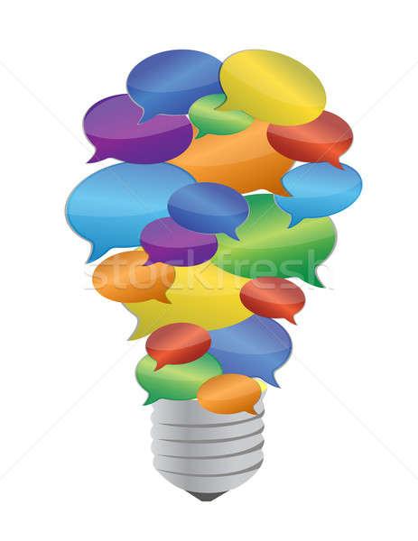 colorful message bubble bulb illustration design over white Stock photo © alexmillos