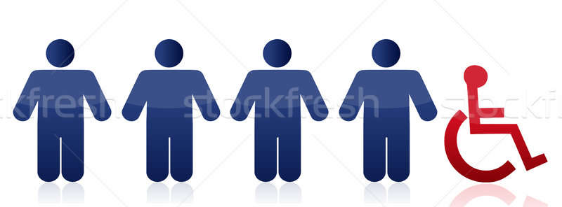 row of people and handicap illustration design over a white back Stock photo © alexmillos