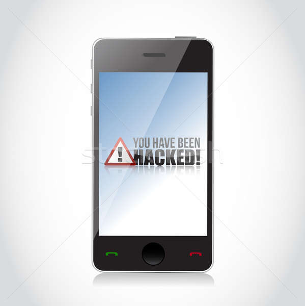 phone - You Have Been Hacked Sign illustration design over white Stock photo © alexmillos