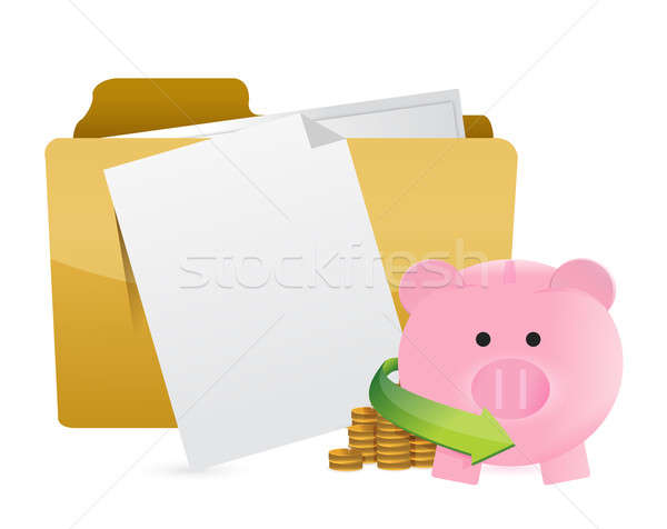 monetary documents concept illustration design over a white back Stock photo © alexmillos