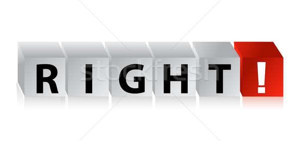 3D Right Block Cube text illustration design over white Stock photo © alexmillos