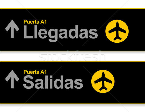 Varış gidiş havaalanı işaretleri İspanyolca su Stok fotoğraf © alexmillos
