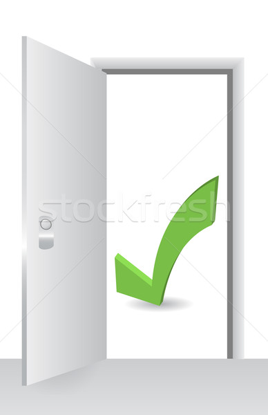Open door with accept symbol Stock photo © alexmillos