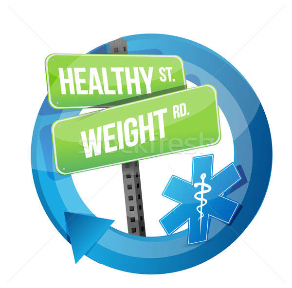 healthy weight road symbol illustration design over white Stock photo © alexmillos