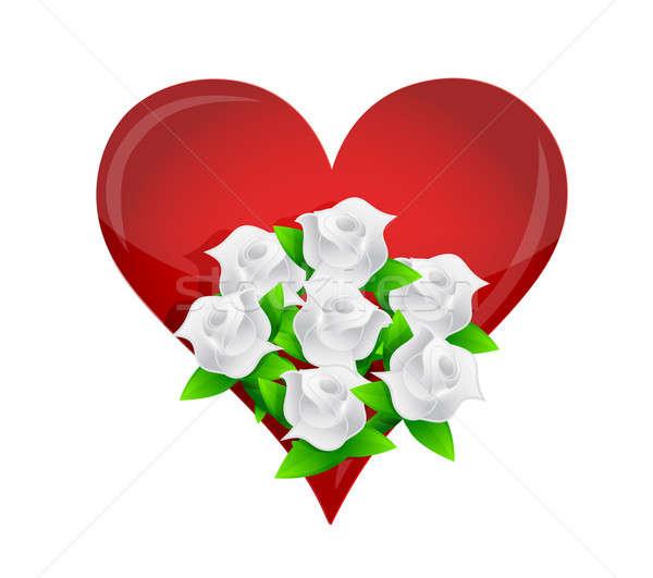Cuore fiore bianco illustrazione fiore amore Foto d'archivio © alexmillos