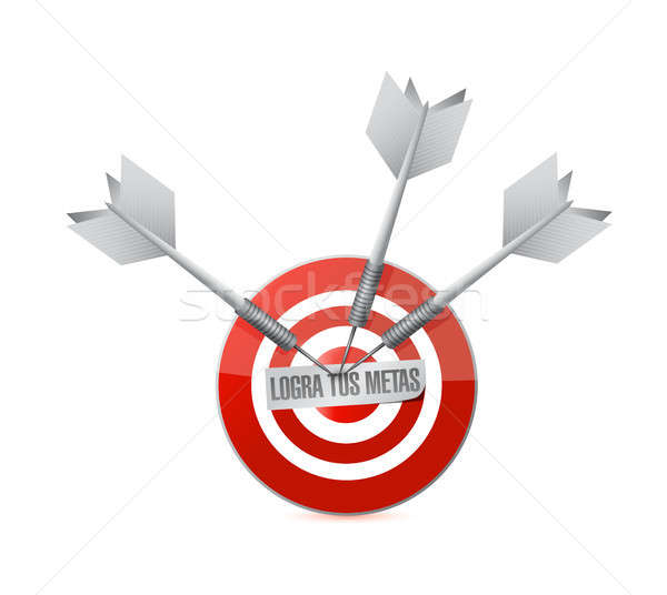 achieve your goals target bullseye in Spanish Stock photo © alexmillos