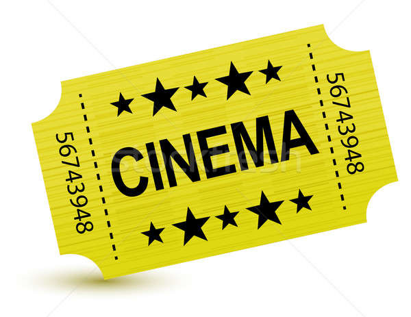 Yellow cinema ticket illustration design over white Stock photo © alexmillos