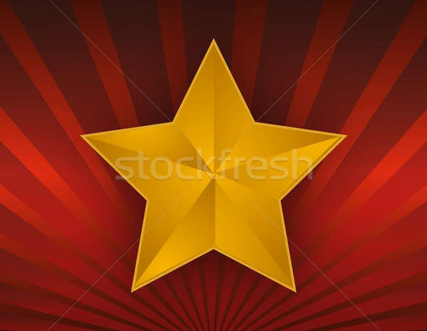 illustration of a gold star on red background. Stock photo © alexmillos
