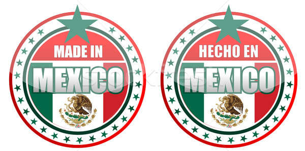 Circular illustration made in Mexico stamp isolated over a white Stock photo © alexmillos