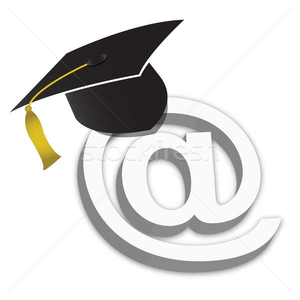 Online Education Degrees Grad Hat illustration isolated over a w Stock photo © alexmillos