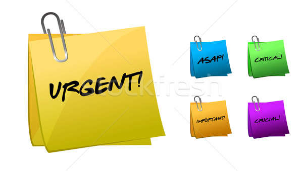 Urgent messages on post-it notes illustration design Stock photo © alexmillos