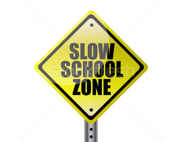 Slow school zone yellow warning street sign over white backgroun Stock photo © alexmillos