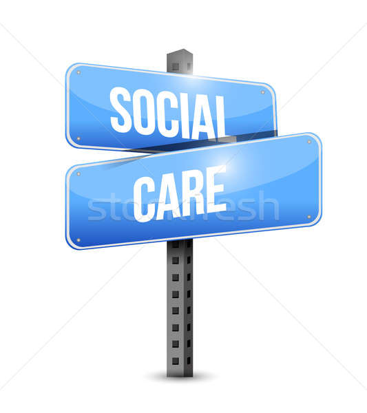social care road sign illustration design over a white backgroun Stock photo © alexmillos
