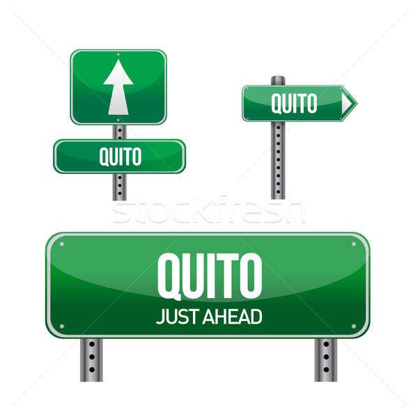Quito ecuador road signs illustration design over a white backgr Stock photo © alexmillos