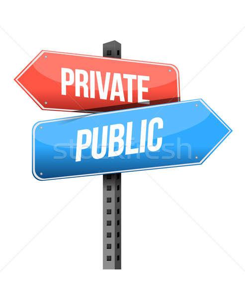 private, public road sign illustration design over a white backg Stock photo © alexmillos