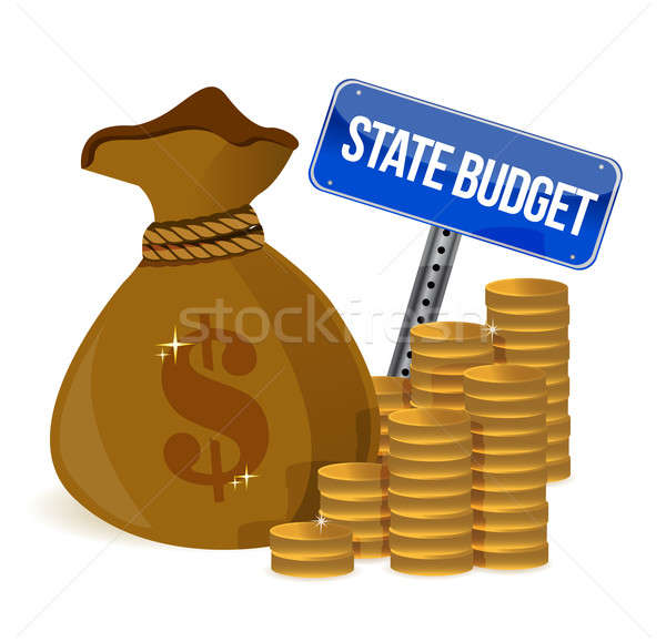 money Bag with state budget sign illustration design over white Stock photo © alexmillos