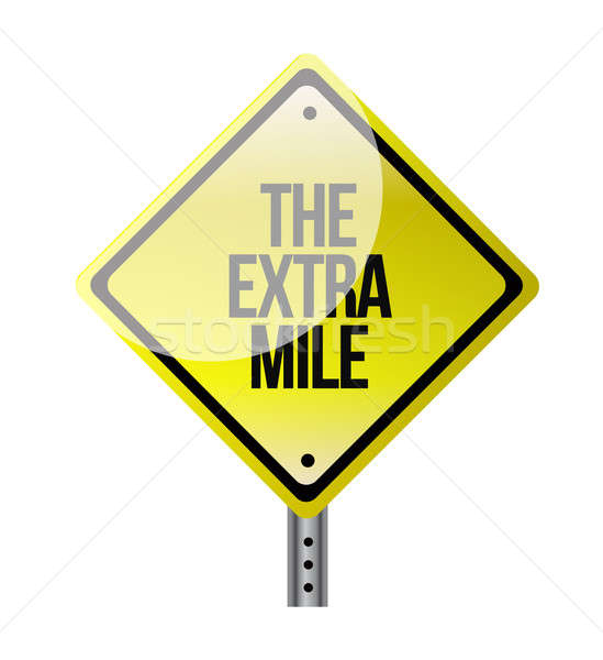 Stock photo: the extra mile road sign illustration design over white
