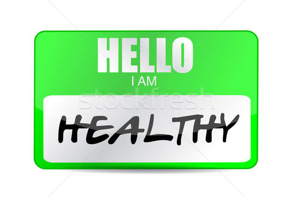 hello im healthy name tag illustration design over a white backg Stock photo © alexmillos