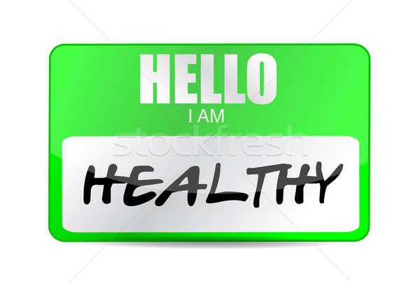 Hello egészséges névtábla illusztráció terv fehér Stock fotó © alexmillos