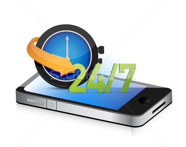 24 7 on the move smartphone illustration design concept graphic Stock photo © alexmillos