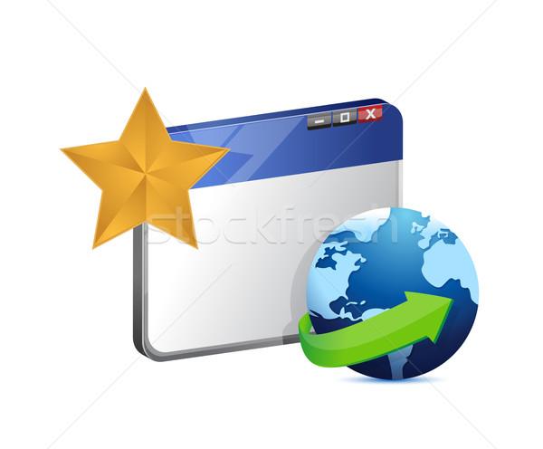 Navegador globo estrela ilustração projeto branco Foto stock © alexmillos