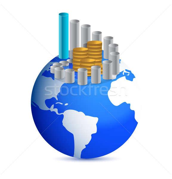 üzleti grafikon érmék világ földgömb illusztráció absztrakt Stock fotó © alexmillos