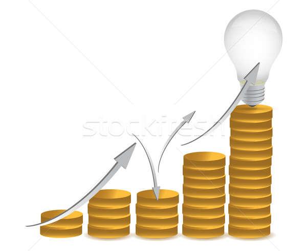 Coins and lightbulb illustration design Stock photo © alexmillos