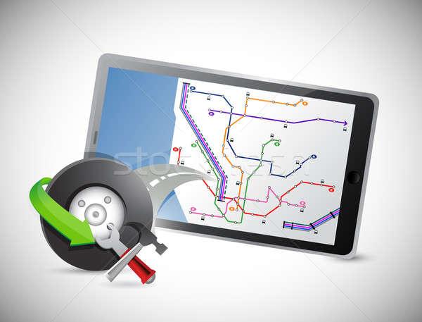 автомобилей колесо GPS таблетка иллюстрация дизайна Сток-фото © alexmillos