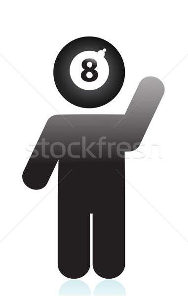 Osiem piłka głowie ikona działalności czarny Zdjęcia stock © alexmillos