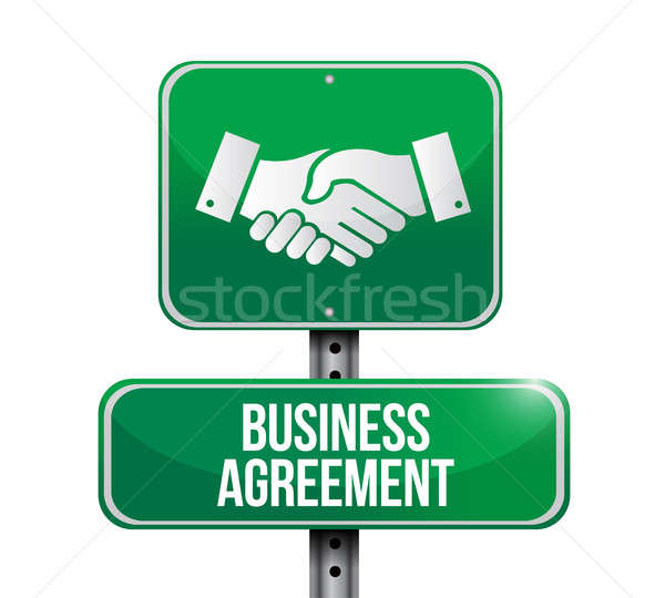 business agreement handshake road sign Stock photo © alexmillos