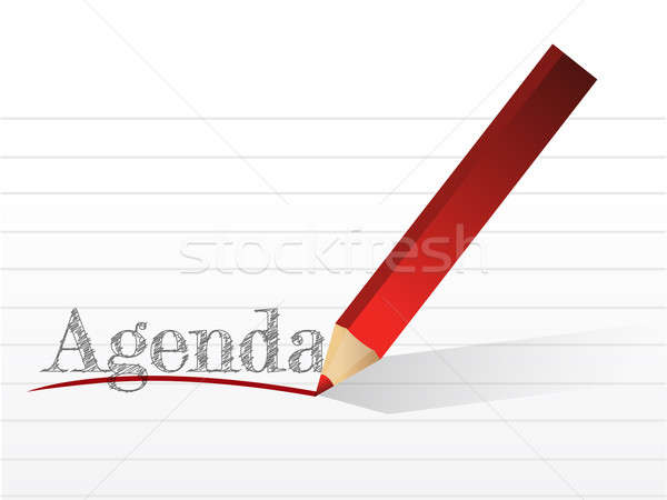 pencil writing the word Agenda. illustration Stock photo © alexmillos