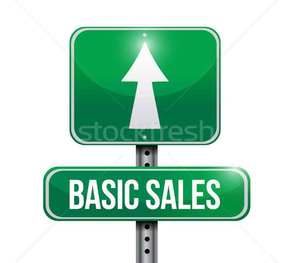 Básico de vendas placa sinalizadora ilustrações projeto branco Foto stock © alexmillos
