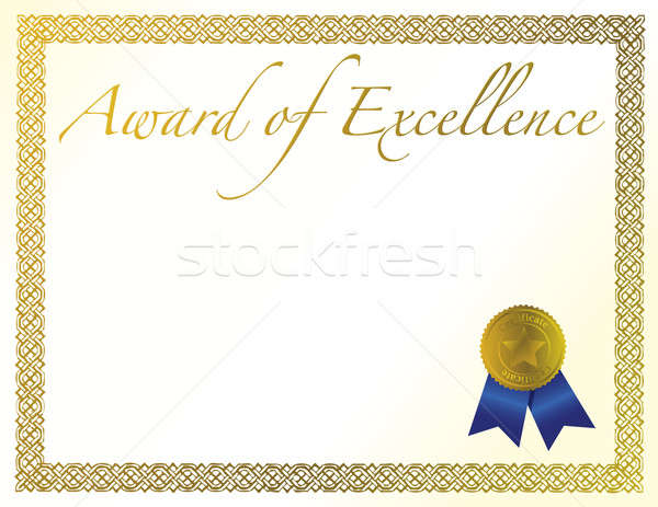 Stock photo: Illustration of a certificate. Award of Excellence with golden r