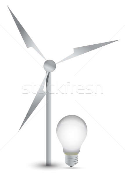 wind turbine and a light bulb illustration design Stock photo © alexmillos
