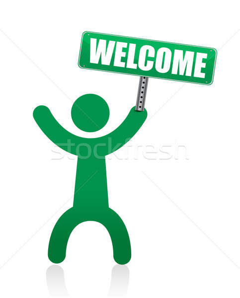 human icon with welcome sign illustration Stock photo © alexmillos