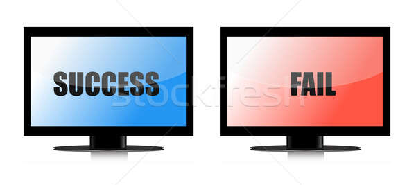 success and fail monitors illustration over white Stock photo © alexmillos