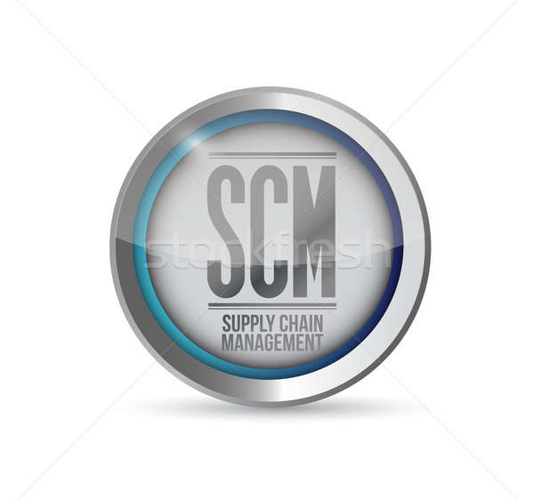 supply chain management button illustration design over white Stock photo © alexmillos