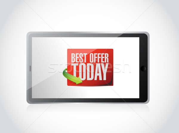 tablet best offer today sign illustration design over white Stock photo © alexmillos