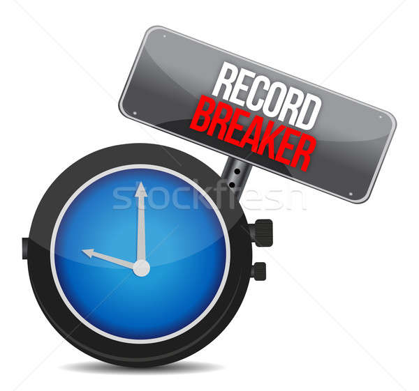 clock with words Record Breaker illustration design over a white Stock photo © alexmillos