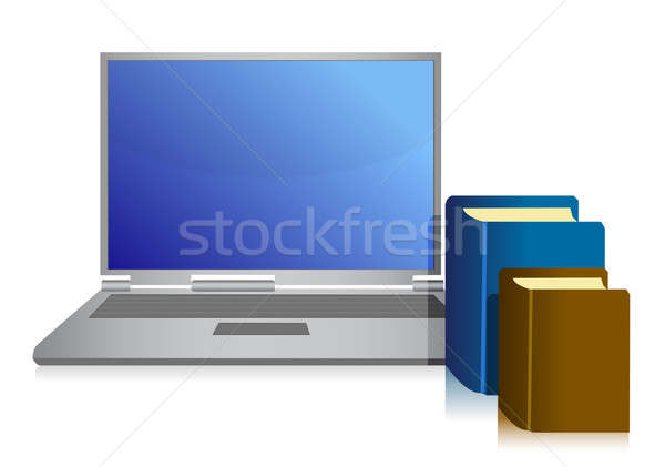 laptop and books illustration over white background Stock photo © alexmillos