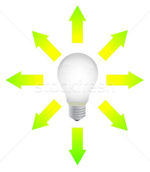 lightbulb with arrows around illustration design over white Stock photo © alexmillos