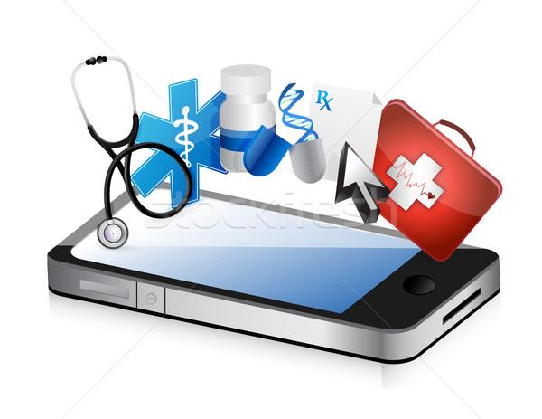 Smartphone médicaux illustration design blanche Retour Photo stock © alexmillos