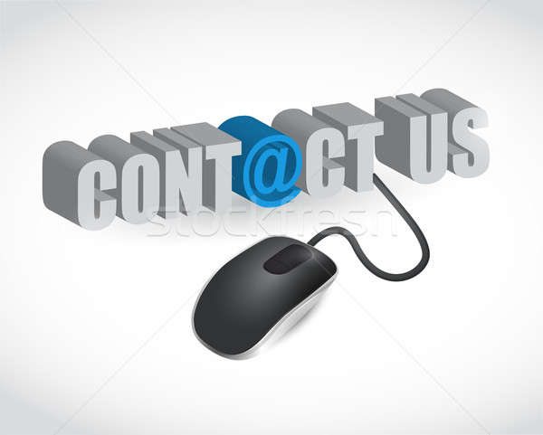 contact us sign and mouse illustration design over white Stock photo © alexmillos