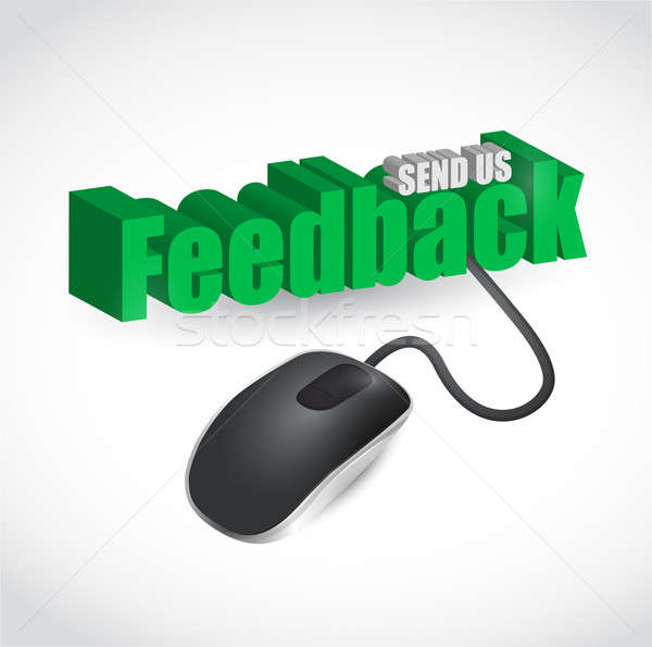 feedback sign and mouse illustration design over white Stock photo © alexmillos